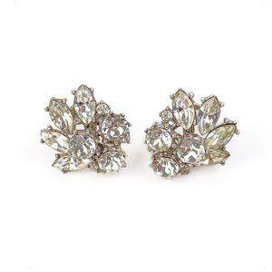 Crown Trifari Vintage Clip Earrings Rhinestones